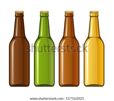 beer isolated bottles on white