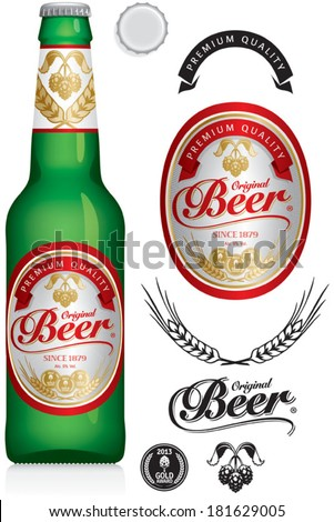Beer Label and neck label on green beer bottle 330 ml vector visual ideal for beer lager ale stout etc Drawn with mesh tool Fully adjustable & scalable