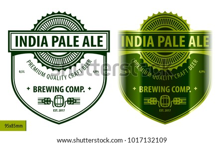 Beer label, modern style typographic template, beverage package design