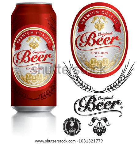 Beer Label vector visual on Black aluminum drinks can 500 ml, ideal for beer, lager, ale, stout etc. Can drawn with mesh tool. Fully adjustable & scalable.
