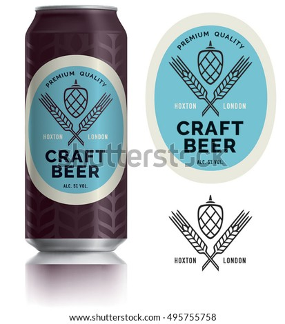 Beer Label vector visual on Black aluminum drinks can 500 ml, ideal for craft beer, lager, ale, stout packaging design etc. Can drawn with mesh tool. Fully adjustable & scalable.