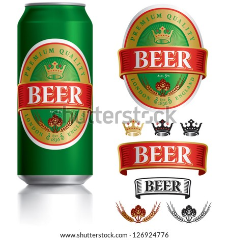 Beer Label vector visual on Green drinks can 500 ml, ideal for beer, lager, ale, stout etc. Can drawn with mesh tool. Fully adjustable & scalable.