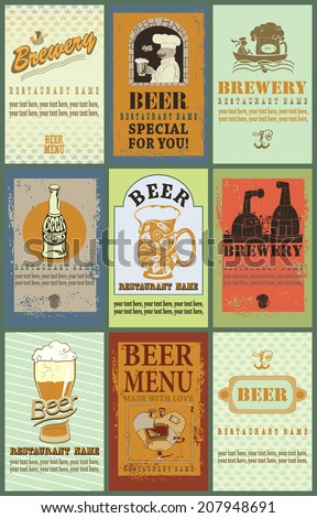 Beer labels. Set contains the images of design elements for beer labels.