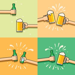 beer logo for bar and celebration with bottle fun set icons cartoon pub