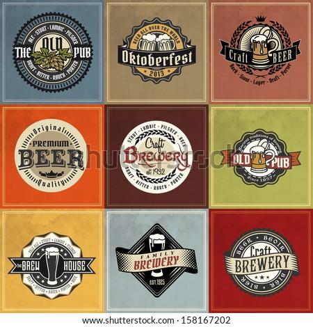 beer logo label vector vintage brewery seal german badge hops retro set styled label of beer good as a template of advertisement beer logo label vector vintage brewery seal german badge hops classic f
