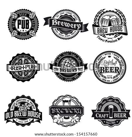 beer logo label vintage vector