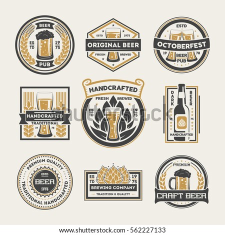 Beer logo vintage isolated label set vector illustration. Brewing company symbols. Pub of craft beer logo premium quality. Oktoberfest beer logo. Beer glass, hop, wooden barrel sign