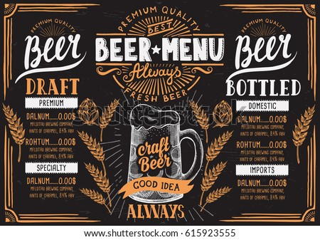 beer menu for restaurant and