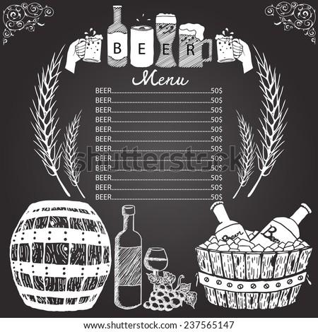 beer menu hand drawn on