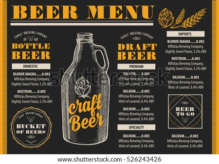 beer menu placemat food...