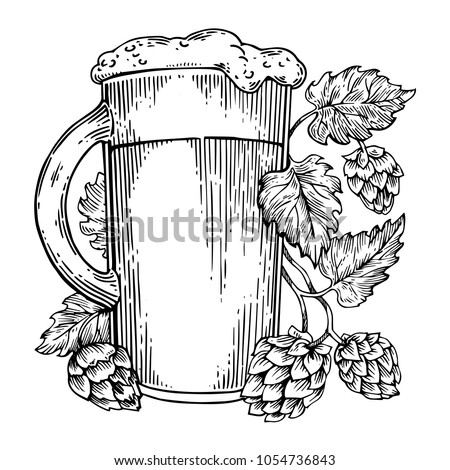 Beer mug and hops plant engraving vector illustration. Scratch board style imitation. Black and white hand drawn image.