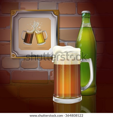 beer mug  bottle  brick wall