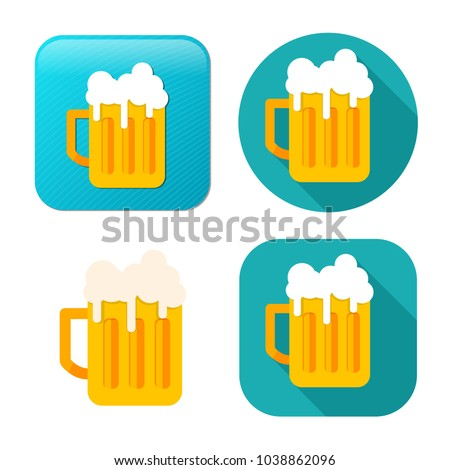 beer mug icon - drink alcohol symbol - bar sign