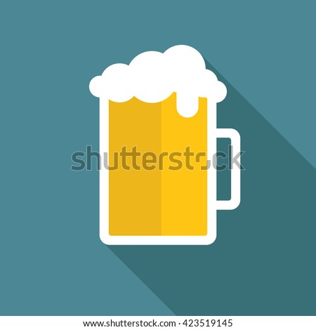 beer mug icon. flat vector...