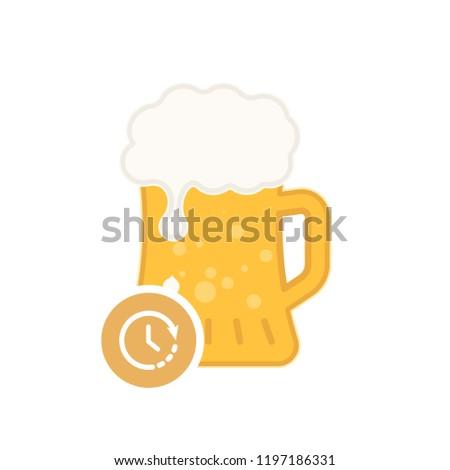 beer mug icon with time sign
