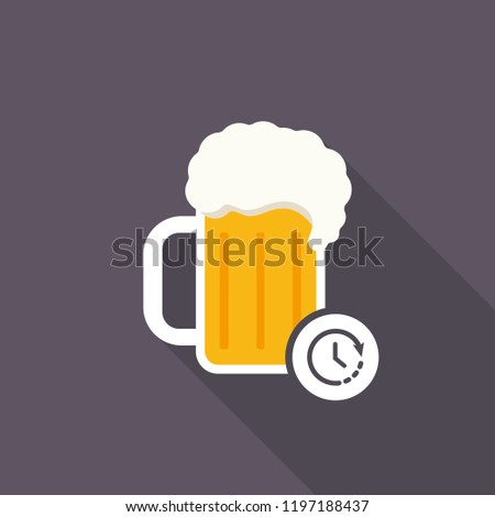 beer mug icon with time sign