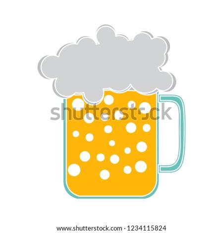beer mug isolated vector - alcohol glass illustration sign . beverage sign symbol