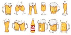 beer mug vector set clipart
