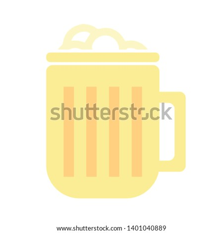 Beer mug with foam flat icon, vector sign, Foamy beer glass colorful pictogram isolated on white. Glass of beer sign icon. Alcohol drink symbol