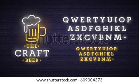 Beer neon sign, bright signboard, light banner. Beer logo, emblem. Neon sign creator. Neon text edit