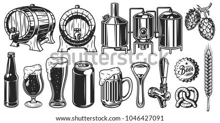 beer object set in vintage