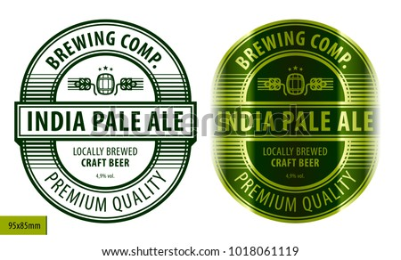 Beer oval label, typographic template, beverage package design #1018061119