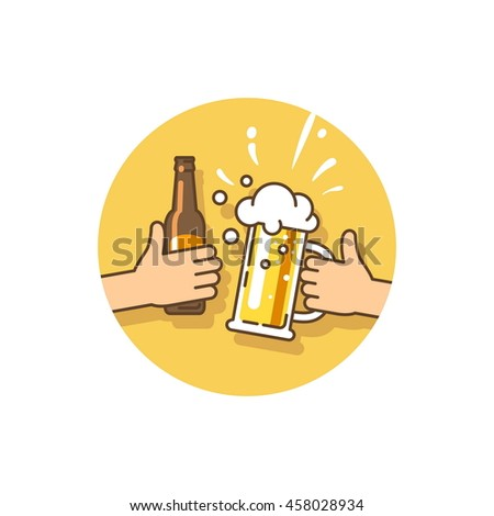 Beer party. Celebration of the current event. Two hands holding the beer bottle and beer glass. Vector illustration in flat style.