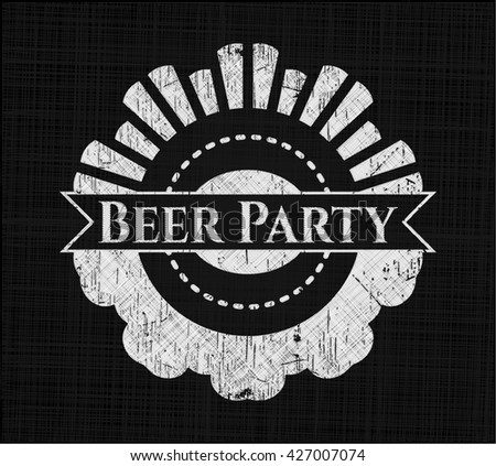 Beer Party chalk emblem, retro style, chalk or chalkboard texture