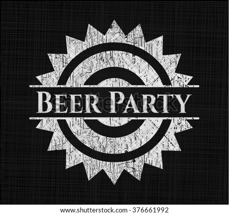 Beer Party chalkboard emblem on black board
