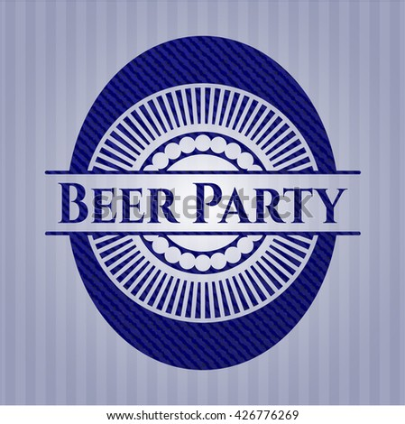Beer Party emblem with jean high quality background