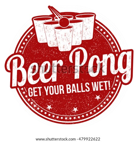beer pong grunge rubber stamp