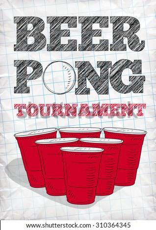 beer pong tournament vector