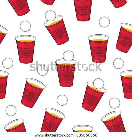 beer pong vector pattern red