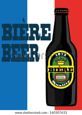 Beer poster with France flag Photo stock ©