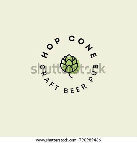 Beer Pub emblem. Hop cone logo. Craft Beer logotype.