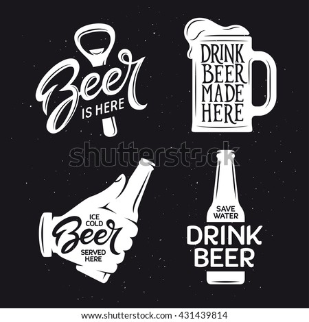 Beer related typography. Vector vintage lettering illustration. Chalkboard design elements for beer pub. Beer advertising.