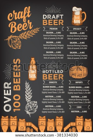 RoyaltyFree Beer Restaurant Brochure Vector  Stock