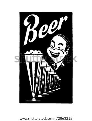 Beer - Retro Ad Art Banner - stock vector