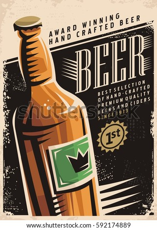 beer retro poster layout with...