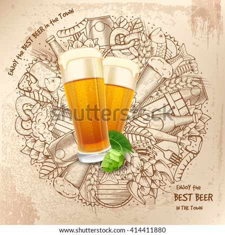 beer round design in outline