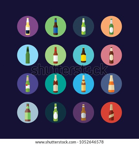 beer's bottle icon set