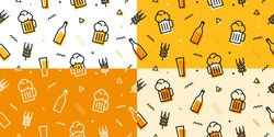 beer seamless pattern memphis style outline line bundle set background download