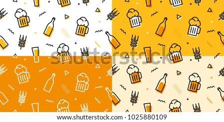 beer seamless pattern memphis style outline line bundle set background download