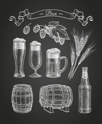 Beer set. Chalk sketch on blackboard background. Hand drawn vector illustration. Retro style.