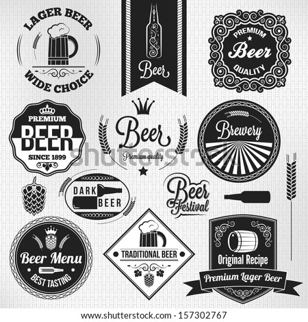beer set lager vintage labels