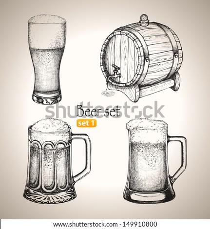 Beer set. Sketch elements for oktoberfest festival. Hand-drawn vector illustration. Set 1