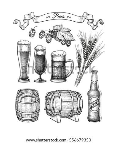 beer set vector illustration