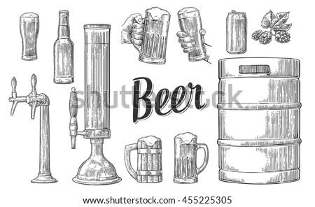 Hand Drawn Beer Glasses Vectors Download Free Vector Art Stock