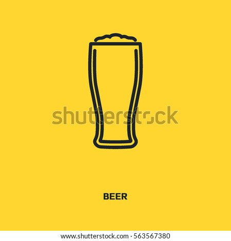 Beer sign line vector icon. Glass of alcohol drink sign. Brewery symbol.