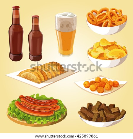 beer, snack to beer, sausages, Potato chips, cheese balls. vector illustration